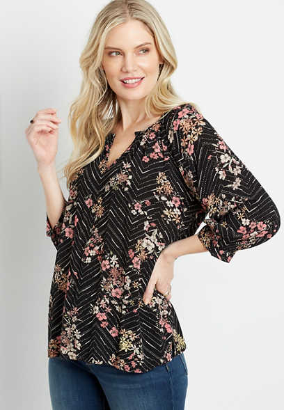 Black Chevron Floral 3/4 Sleeve Peasant Top