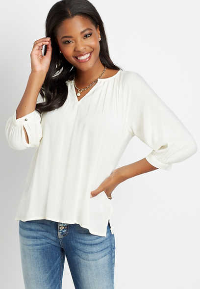 White 3/4 Sleeve Peasant Top