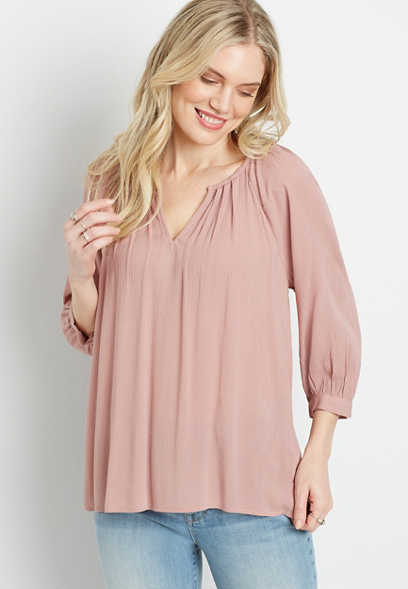 Pink 3/4 Sleeve Peasant Top