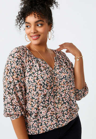 Plus Size Ditsy Floral 3/4 Sleeve Peasant Top