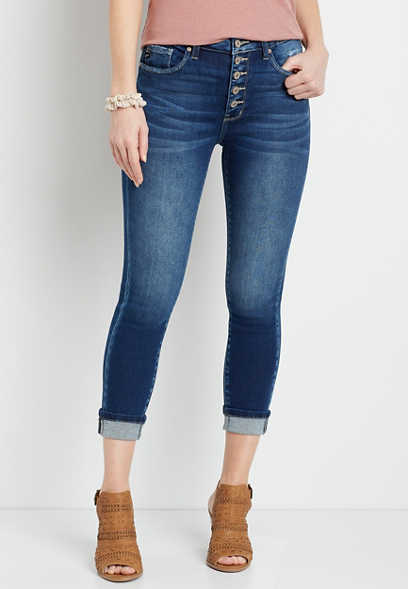 KanCan™ High Rise Dark Button Fly Cropped Jean
