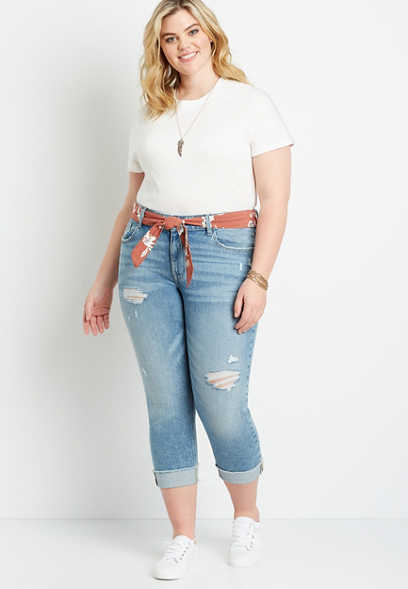 Plus Size Vintage Destructed Belted Boyfriend Cropped Jean