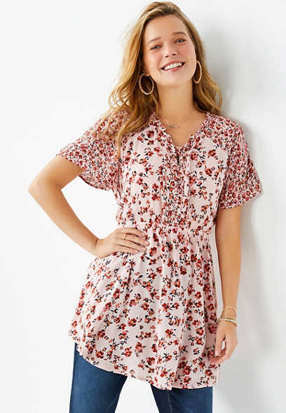 Ditsy Floral Lace Up Tunic Top