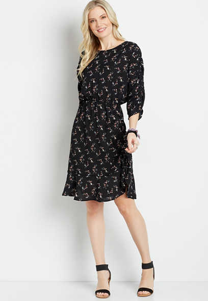 Black Floral Cinched Front Mini Dress