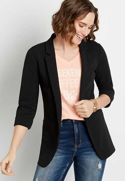 Black 3/4 Cuffed Sleeve Open Front Blazer