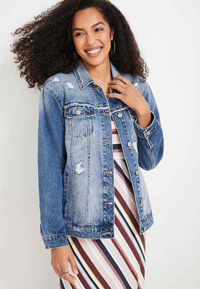 KanCan™ Medium Destructed Oversized Denim Jacket