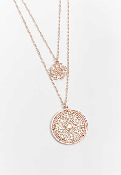 Rose Gold Double Medallion Pendant Drape Necklace