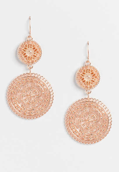 Rose Gold Double Medallion Drop Earrings