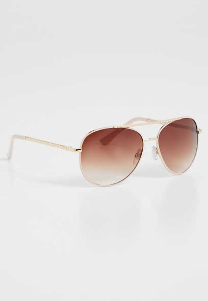 Rose Gold Twisted Aviator Sunglasses