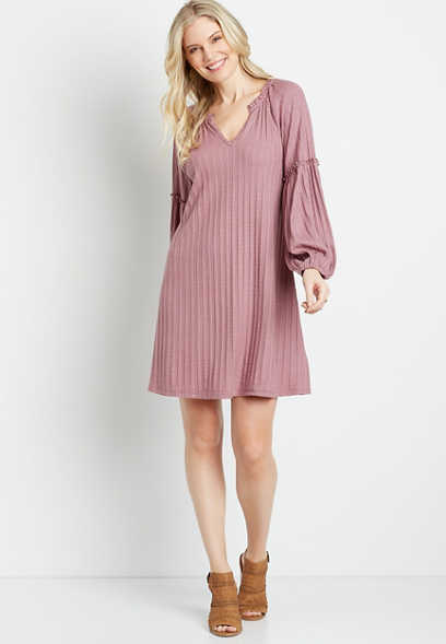 Pink Ribbed Blouson Sleeve Shift Dress