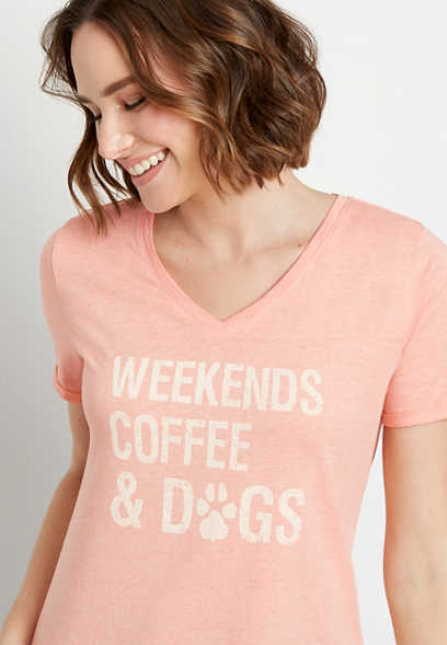 Weekends Coffee Dogs V Neck Graphic Tee