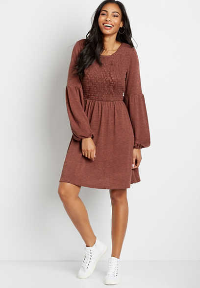 Smocked Top Cozy Babydoll Dress