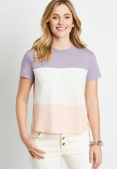 24/7 Purple Colorblock Crew Neck Cropped Tee
