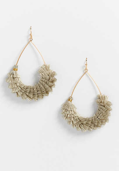 Gold Fringe Teardrop Earrings