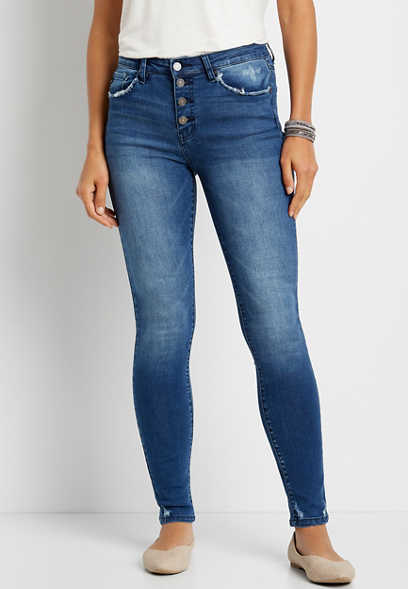 KanCan™ High Rise Medium Wash Button Fly Skinny Jean