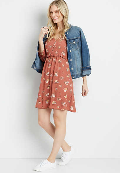 Floral Button Front Ruffle Waist Mini Dress