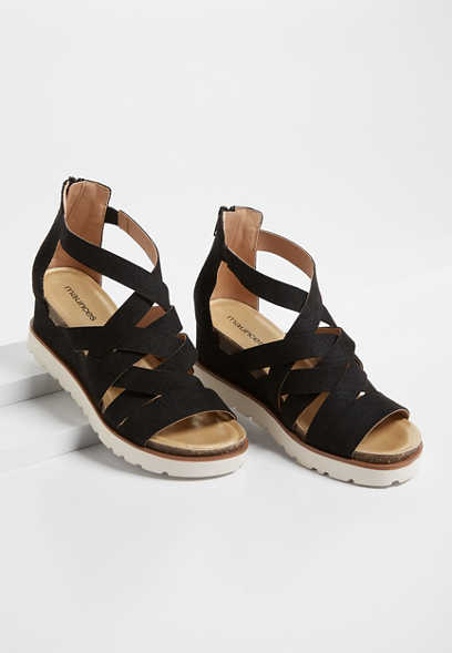 Finley Black Strappy Sporty Wedge