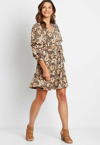 Floral Ruched Sleeve Tie Waist Mini Dress