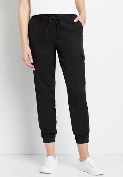 Black Pull On Cargo Jogger Pant