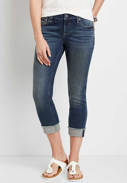 Vigoss® Dark Wash Cuffed Cropped Jean