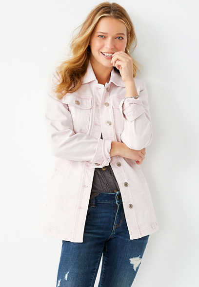 Pink Belted Denim Trench Jacket