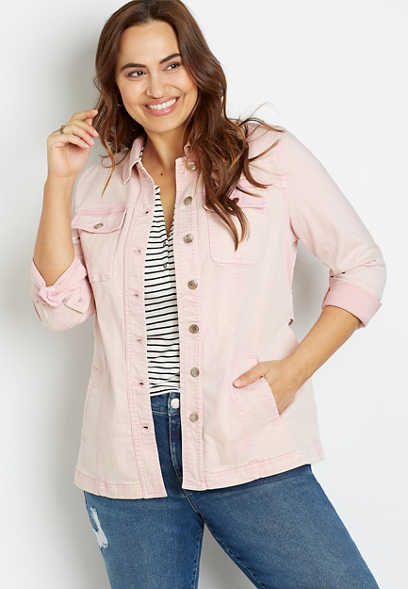 Plus Size Pink Belted Denim Trench Jacket
