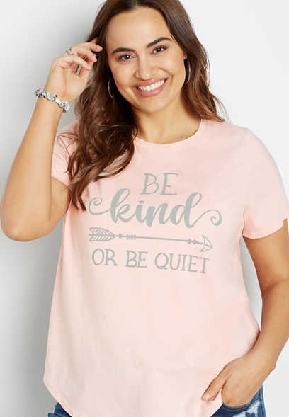 Plus Size Pink Be Kind Or Be Quiet Graphic Tee
