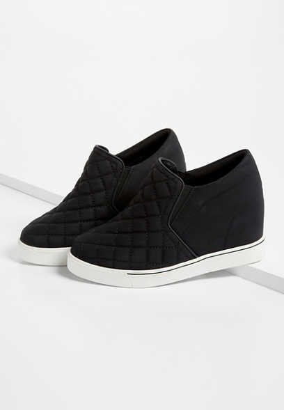 Sammie Black Quilted Sneaker Wedge