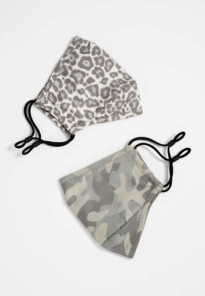 2 Pack Non-Medical X Small Leopard and Camo Face Masks