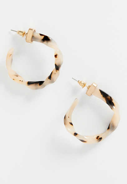 Twisted Tortoise Hoop Earrings