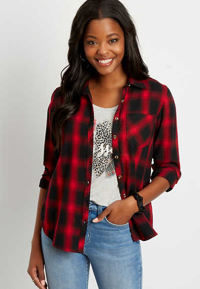 Red Plaid Button Down Long Sleeve Flannel Shirt