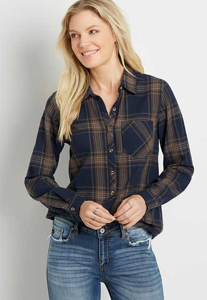 Navy Plaid Button Down Long Sleeve Flannel Shirt
