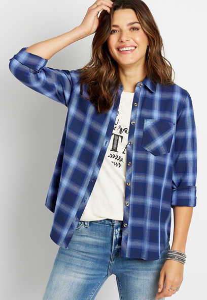 Blue Plaid Button Down Long Sleeve Flannel Shirt