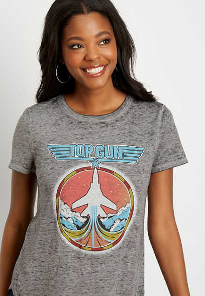 Gray Top Gun Graphic Tee