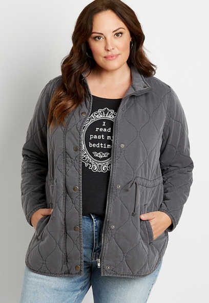 Plus Size Quilted Cinched Waist Jacket