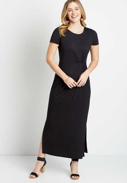 24/7 Black Knot Front Maxi Dress