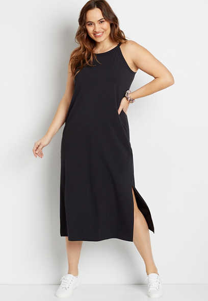 Plus Size 24/7 Black Column Maxi Dress