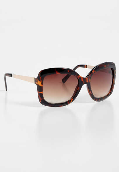 Tortoise Metal Oversized Sunglasses