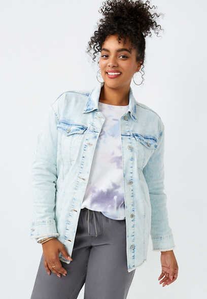 Plus Size Light Wash Oversized Boyfriend Denim Jacket