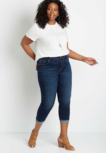 Plus Size DenimFlex™ High Rise Dark Wash Cuffed Cropped Jean