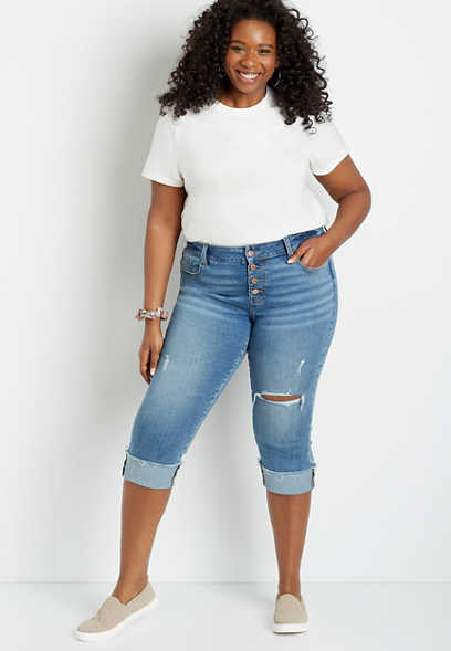 Plus Size DenimFlex™ Medium Destructed Button Fly Cuffed Capri