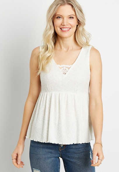 White Lace Trim Babydoll Tank Top