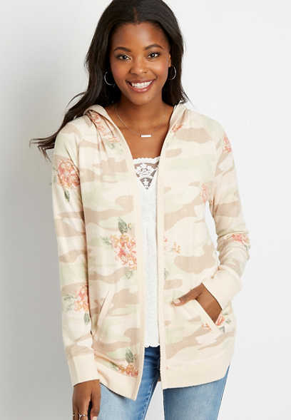 Pink Floral Open Front Hooded Cardigan