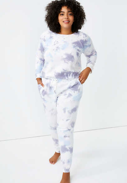 Plus Size Purple Tie Dye Jogger Pant