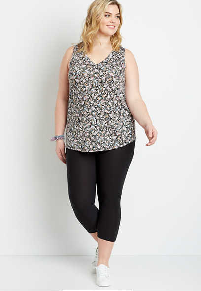 Plus Size High Rise Black Ultra Soft Capri Legging
