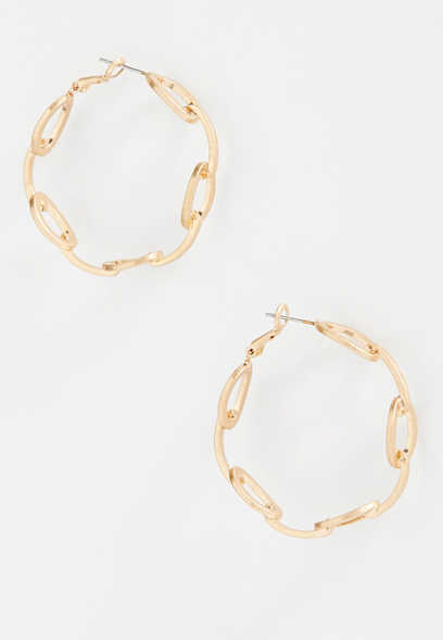 Gold Chunky Chain Hoop Earrings