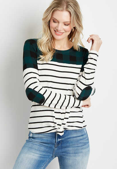24/7 Buffalo Plaid Stripe Blocked Football Tee