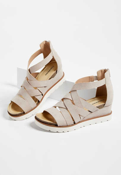 Finley Taupe Strappy Sporty Wedge