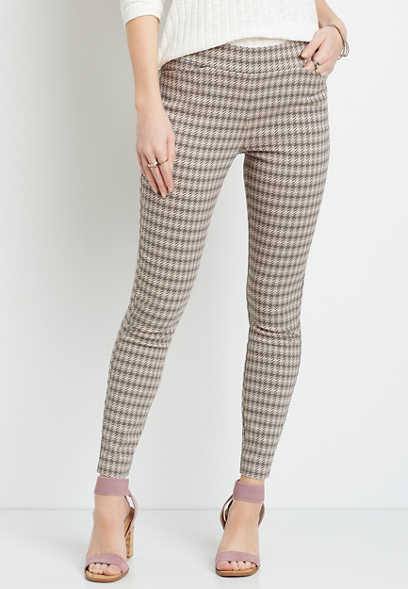 Houndstooth Bengaline Skinny Ankle Pant