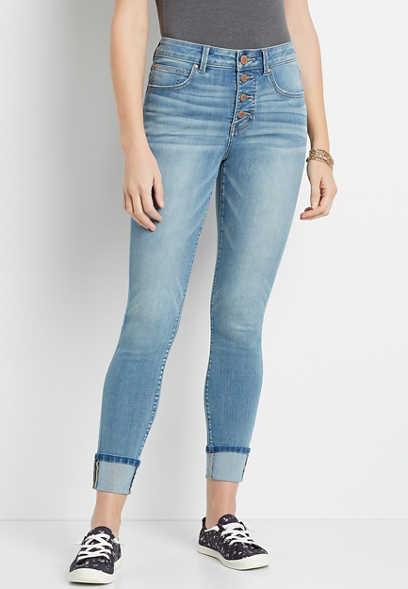 Maurices Everflex High Rise Cuffed Stretch Super Skinny Jean